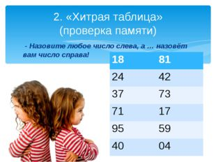2. «Хитрая таблица» (проверка памяти)  - Назовите любое число слева, а … наз