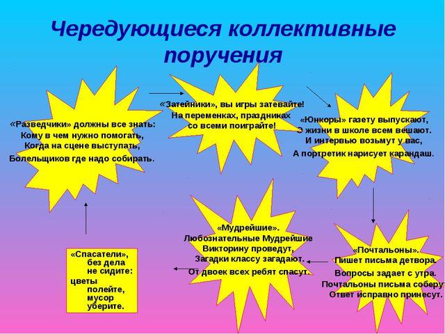 Чередующиеся коллективные поручения «Разведчики» должны все знать: Кому в чем...