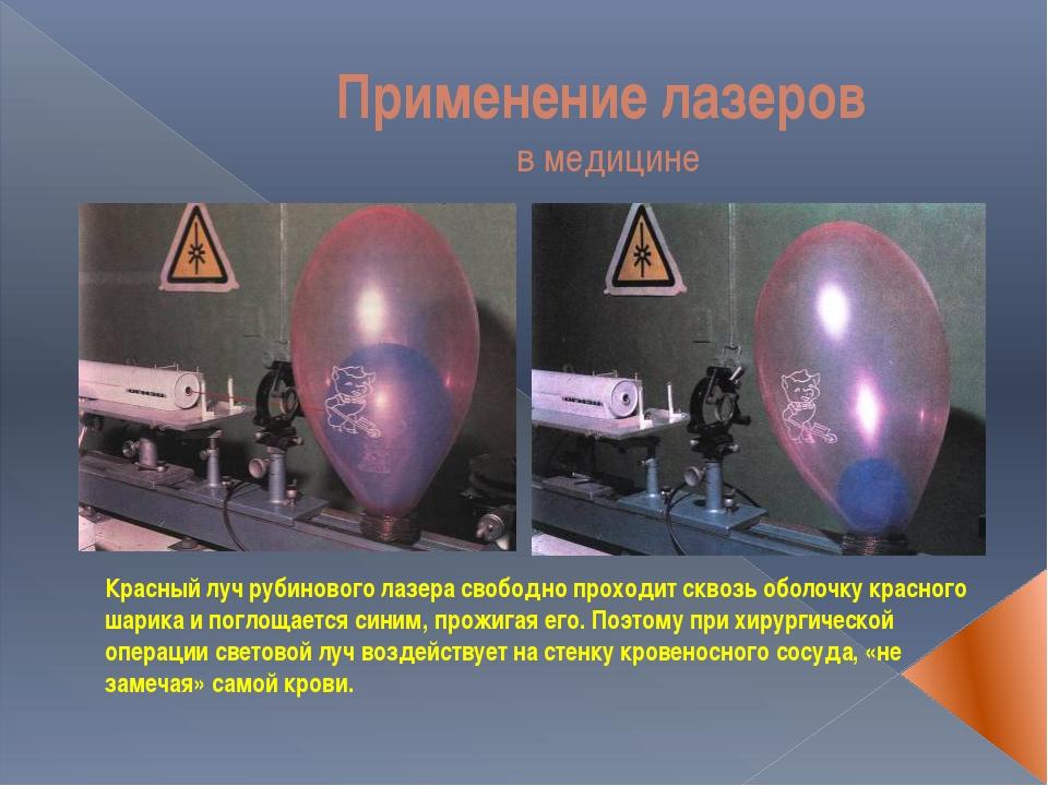 Применение лазеров в медицине Красный луч рубинового лазера свободно проходит...