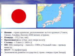 Япония – страна архипелаг, расположенная на 4-ех крупных ( Хонсю, Сикоку, Хок