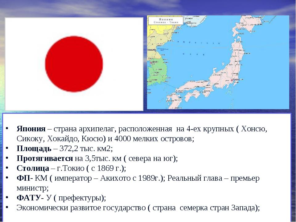 Япония – страна архипелаг, расположенная на 4-ех крупных ( Хонсю, Сикоку, Хок...