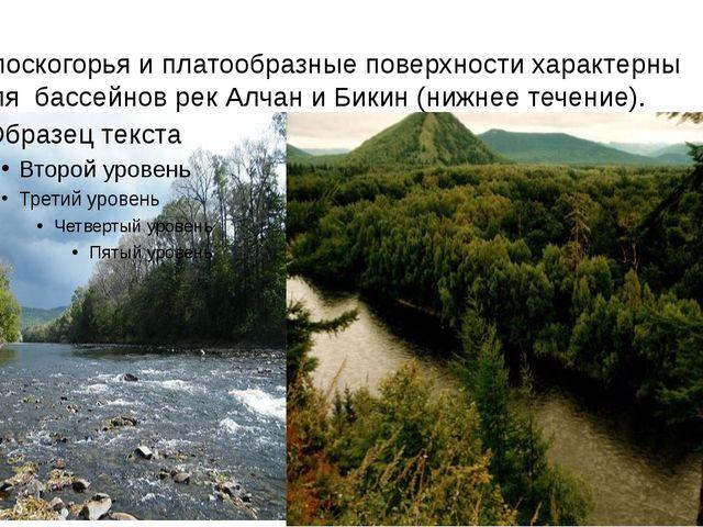 Плоскогорья и платообразные поверхности характерны для бассейнов рек Алча...