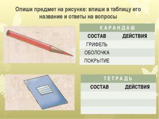 Опиши предмет на рисунке: впиши в таблицу его название и ответы на вопросы К