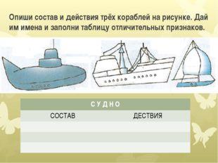 Опиши состав и действия трёх кораблей на рисунке. Дай им имена и заполни табл