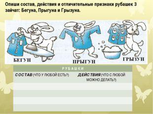 Опиши состав, действия и отличительные признаки рубашек 3 зайчат: Бегуна, Пры