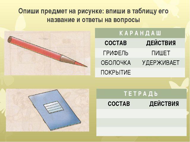 Опиши предмет на рисунке: впиши в таблицу его название и ответы на вопросы К...