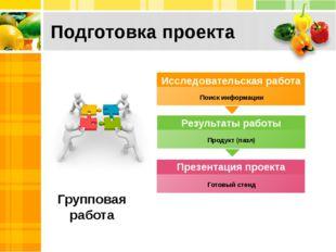 Подготовка проекта Групповая работа Поиск информации Продукт (пазл) Готовый с