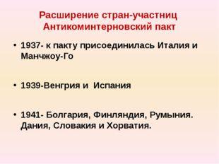 Расширение стран-участниц Антикоминтерновский пакт 1937- к пакту присоединила