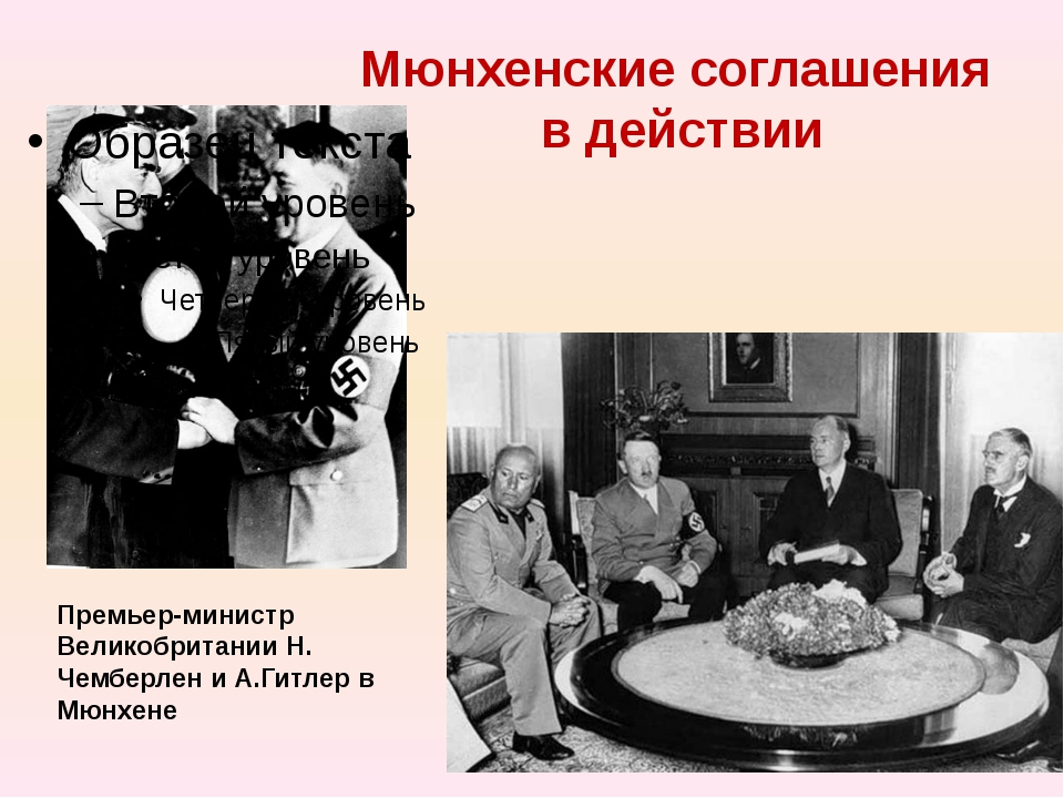 Мюнхенские соглашения в действии Премьер-министр Великобритании Н. Чемберлен...