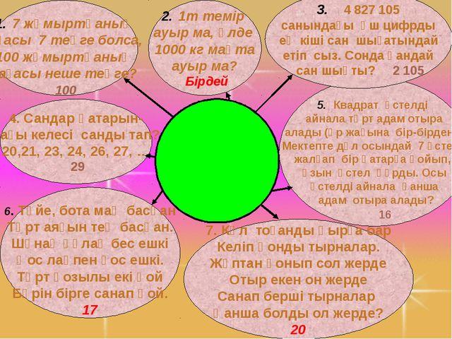 6. Түйе, бота маң басқан Төрт аяғын тең басқан. Шұнақ құлақ бес ешкі Қос лақ...