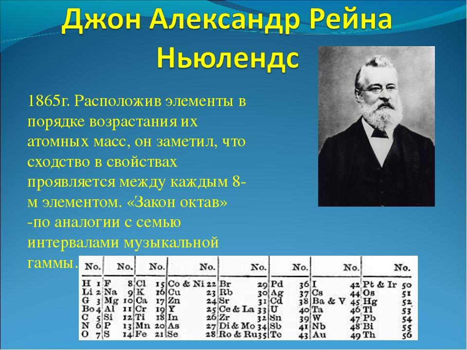1865г. Расположив элементы в порядке возрастания их атомных масс, он заметил,...