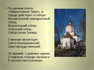 По данным газеты «Православная Тверь», в городе действуют 4 собора: Воскресе