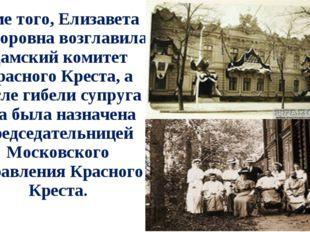Кроме того, Елизавета Фёдоровна возглавила Дамский комитет Красного Креста, а