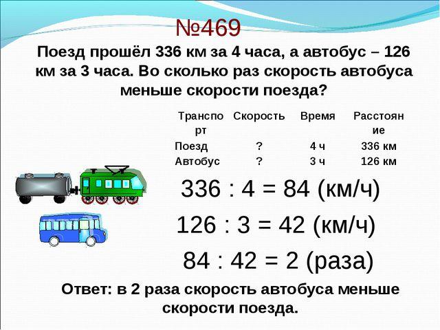 №469 336 : 4 = 84 (км/ч) 126 : 3 = 42 (км/ч) 84 : 42 = 2 (раза) Ответ: в 2 ра...
