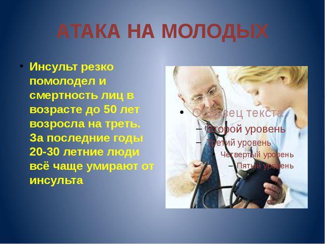 АТАКА НА МОЛОДЫХ Инсульт резко помолодел и смертность лиц в возрасте до 50 ле...