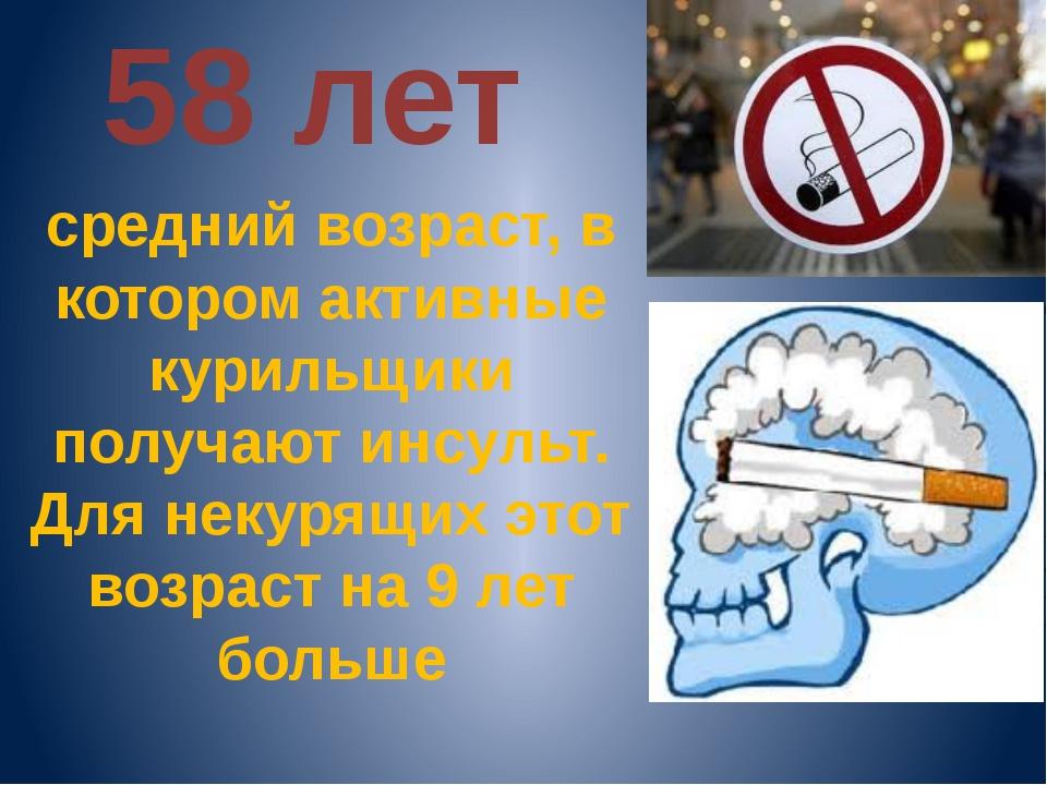 58 лет средний возраст, в котором активные курильщики получают инсульт. Для...