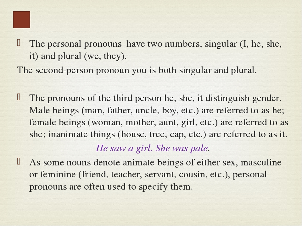 Reflexive pronouns have the categories of person, number, and gender in the t...