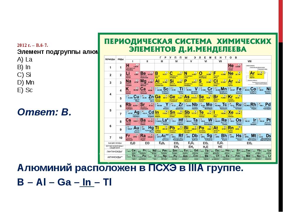 2012 г. – В.6-7. Элемент подгруппы алюминия: А) La B) In C) Si D) Mn E) Sc О...