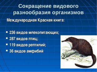 Сокращение видового разнообразия организмов Международная Красная книга: 236