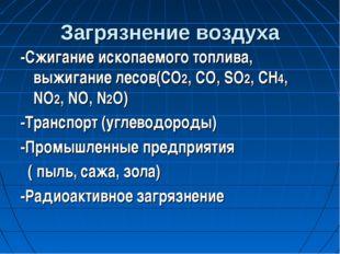 Загрязнение воздуха -Сжигание ископаемого топлива, выжигание лесов(CO2, CO, S