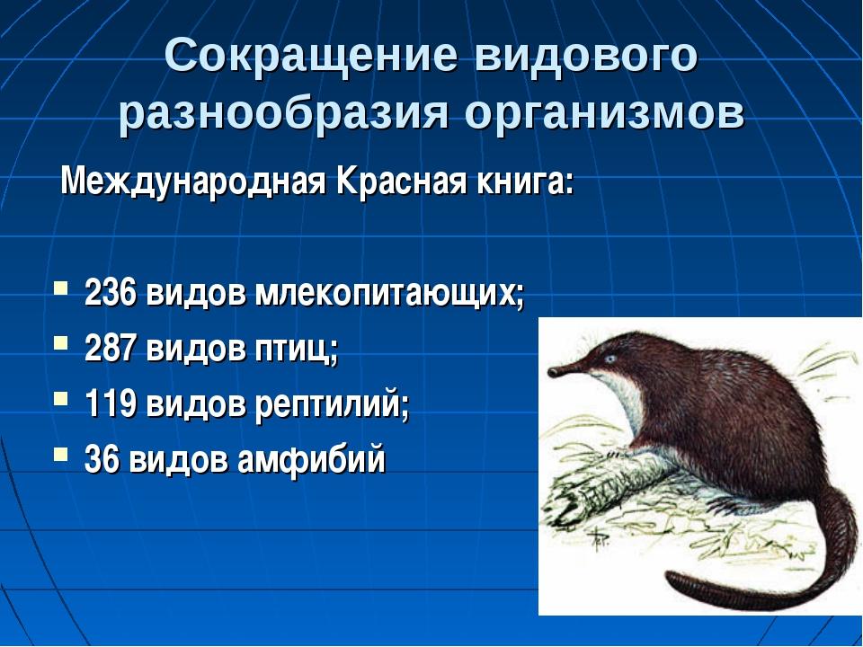 Сокращение видового разнообразия организмов Международная Красная книга: 236...