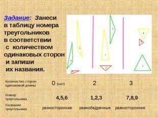 4,5,6 1,2,3 7,8,9 равнобедренные разносторонние равносторонние Задание: Занес