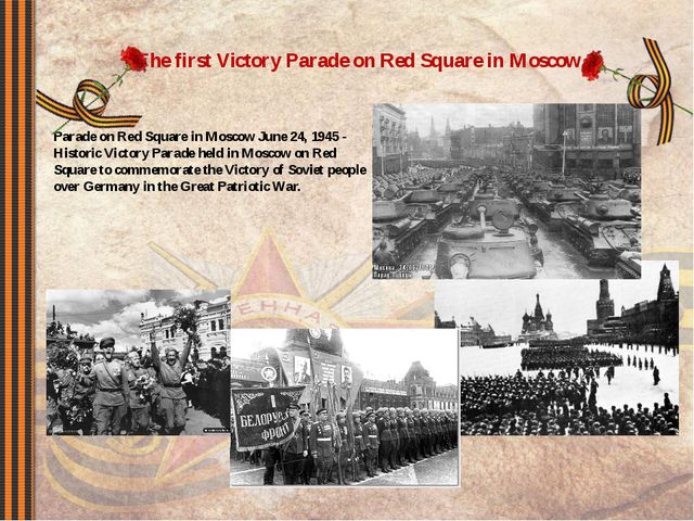 The first Victory Parade on Red Square in Moscow. Parade on Red Square in Mos...