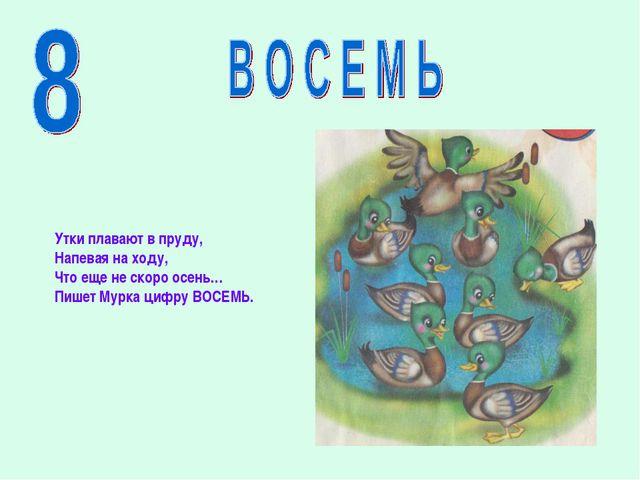 Утки плавают в пруду, Напевая на ходу, Что еще не скоро осень… Пишет Мурка ци...