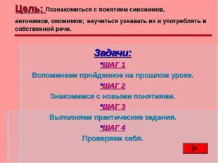 Цель: Познакомиться с понятием синонимов, антонимов, омонимов; научиться узна