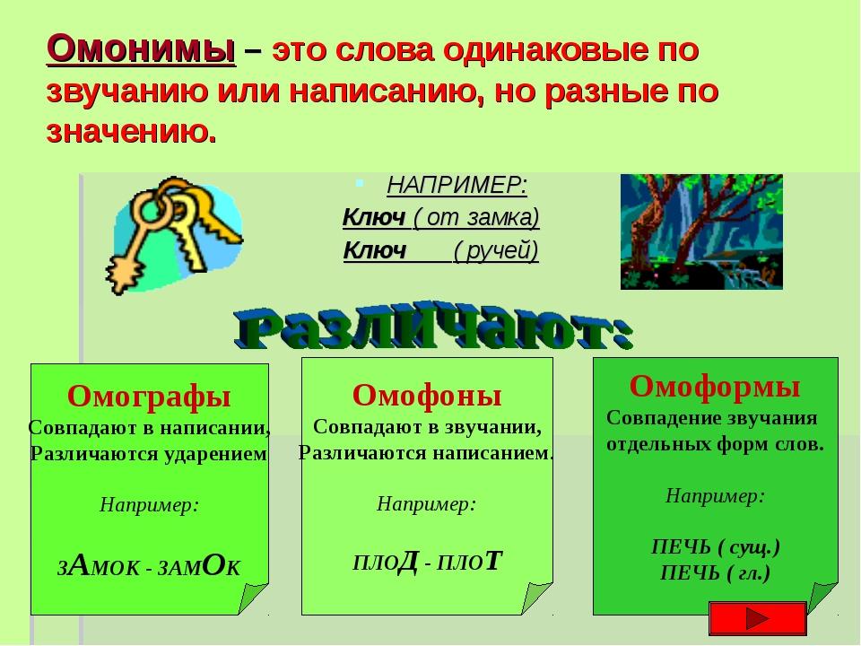 Омонимы – это слова одинаковые по звучанию или написанию, но разные по значен...