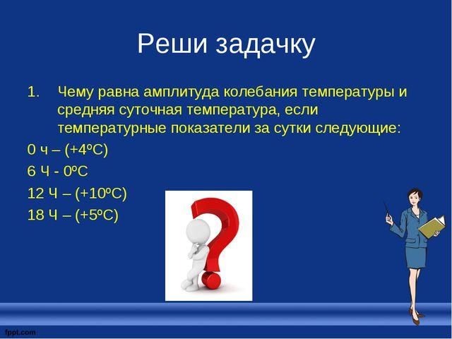 Реши задачку Чему равна амплитуда колебания температуры и средняя суточная те...