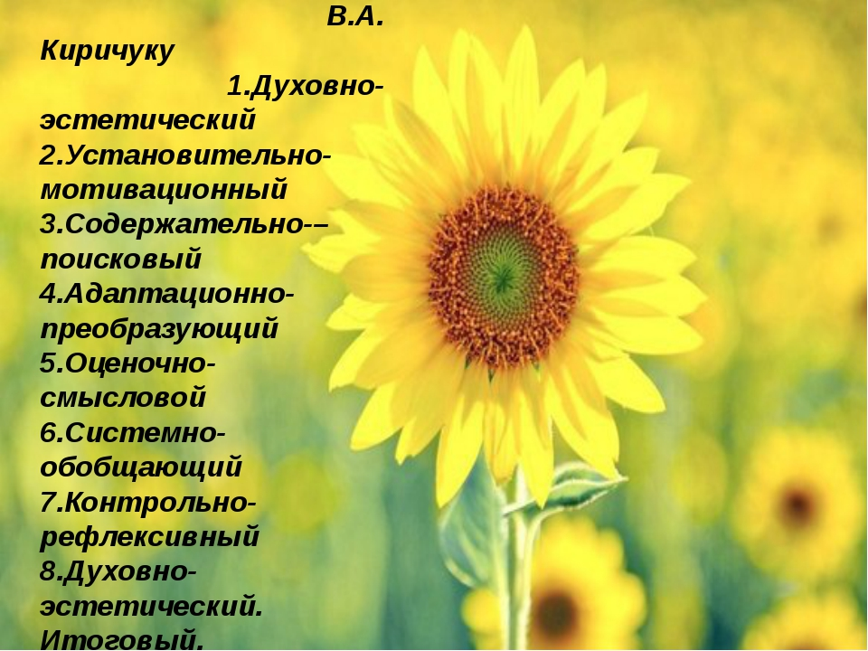 Схема урока по В.А. Киричуку 1.Духовно- эстетический 2.Установительно- мотив...
