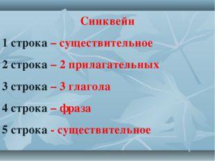 Синквейн 1 строка – существительное 2 строка – 2 прилагательных 3 строка – 3