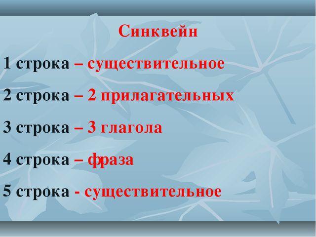 Синквейн 1 строка – существительное 2 строка – 2 прилагательных 3 строка – 3...