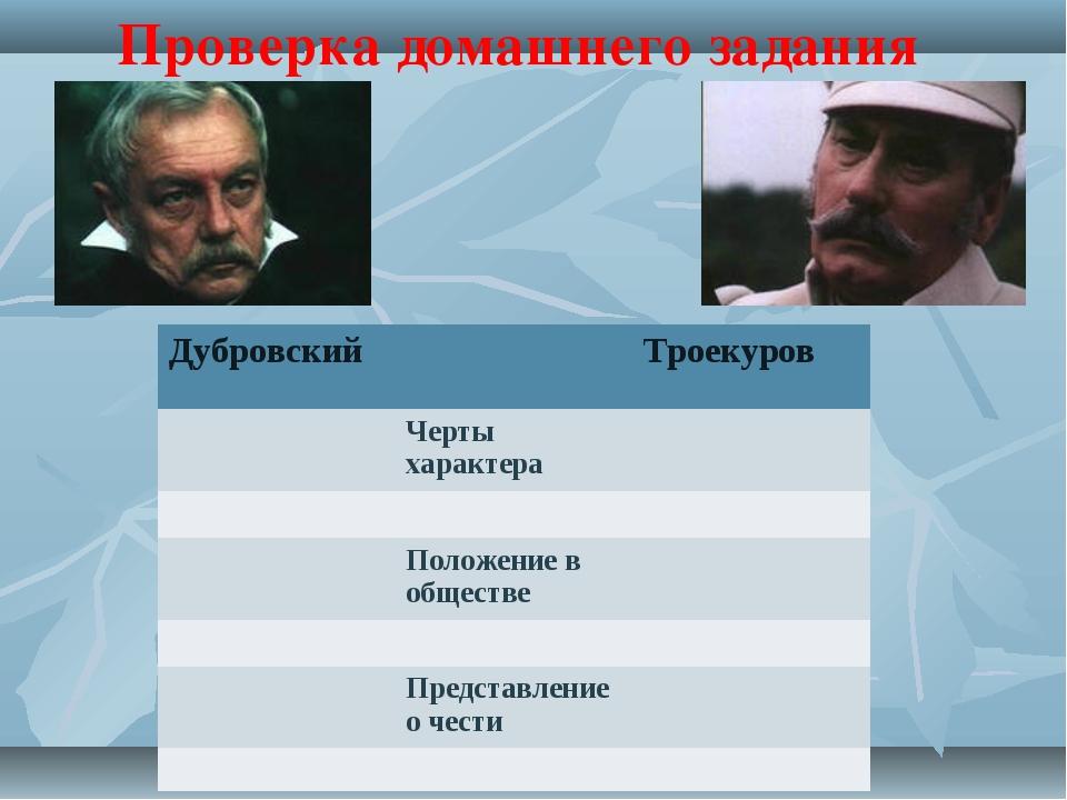 Проверка домашнего задания ДубровскийТроекуров Черты характера  Положе...