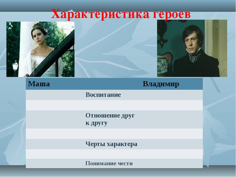 Характеристика героев МашаВладимир Воспитание  Отношение друг к другу...