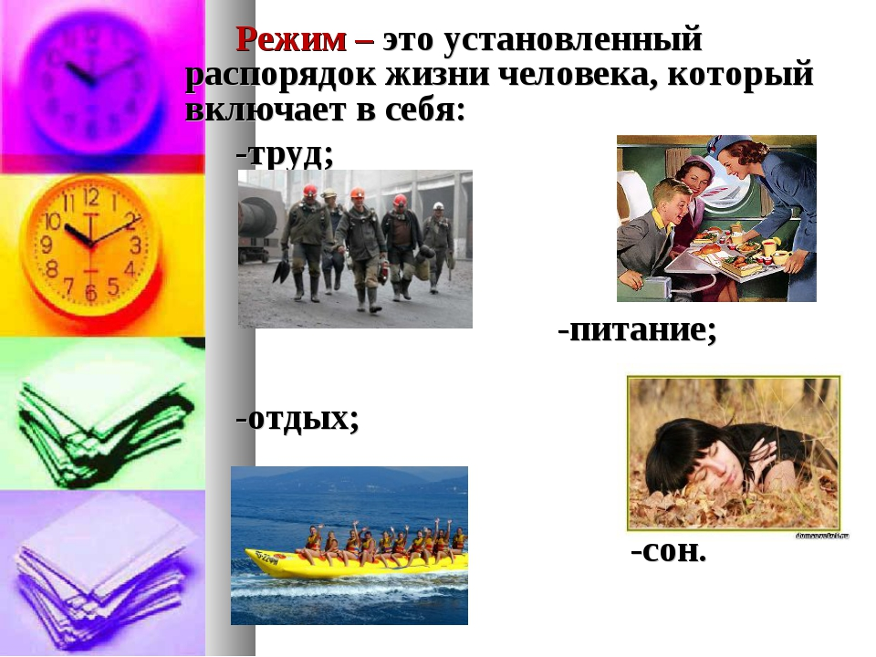Режим – это установленный распорядок жизни человека, который включает в себя...