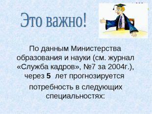 По данным Министерства образования и науки (см. журнал «Служба кадров», №7 з