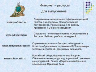 Интернет – ресурсы для выпускников. www.profcentr.ru Современные технологии п