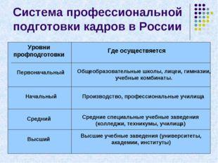 Система профессиональной подготовки кадров в России Уровни профподготовки Где