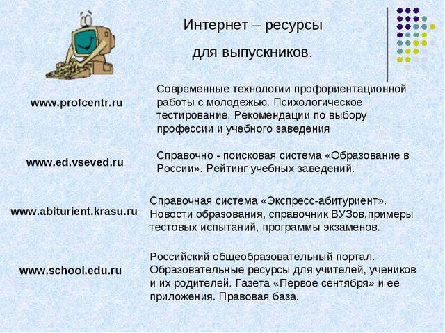 Интернет – ресурсы для выпускников. www.profcentr.ru Современные технологии п...