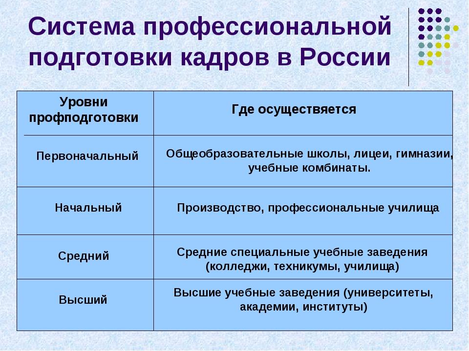 Система профессиональной подготовки кадров в России Уровни профподготовки Где...