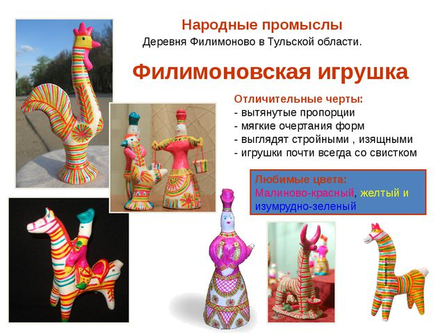 Народные промыслы Деревня Филимоново в Тульской области. Отличительные черты:...