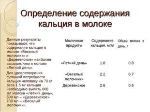 Определение содержания кальция в молоке  Данные результаты показывают, что с
