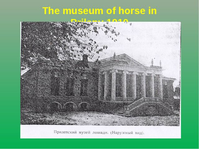 The museum of horse in Prilepy.1910
