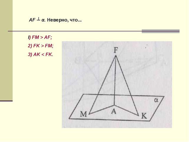AF ┴ α. Неверно, что... l) FM > AF; 2) FK > FM; 3) AK < FK.