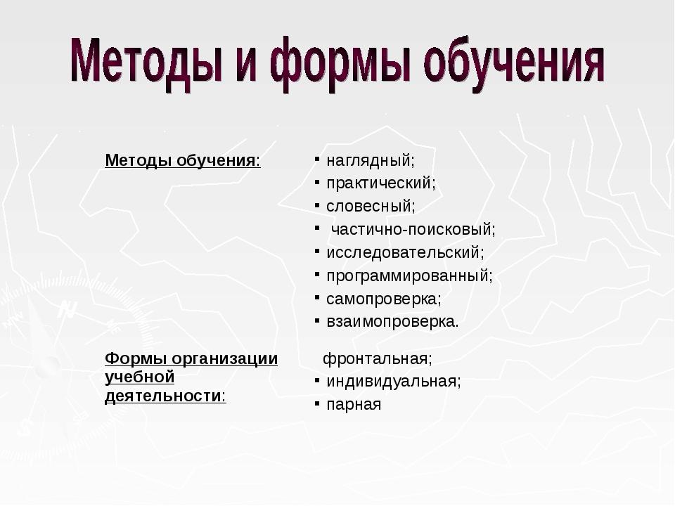 Методы обучения:наглядный; практический; словесный; частично-поисковый; иссл...