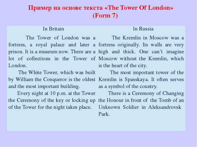 Пример на основе текста «The Tower Of London» (Form 7)  InBritain InRussia...