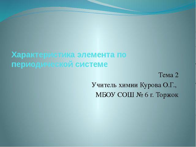 Характеристика элемента по периодической системе Тема 2 Учитель химии Курова...