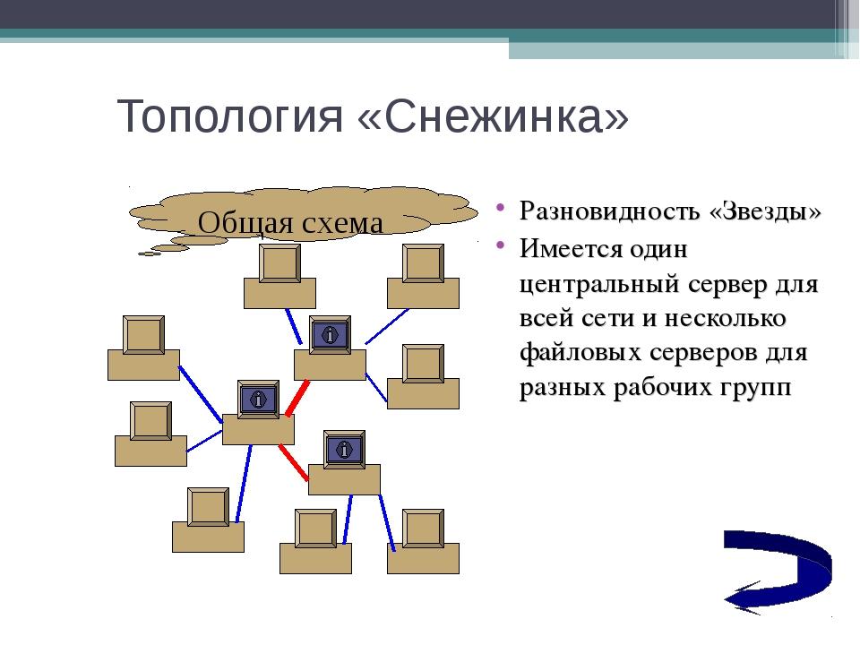 Топология «Снежинка» Разновидность «Звезды» Имеется один центральный сервер д...